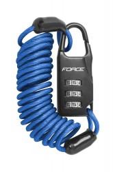 Force SMALL zámek spirálový kódový 120cm/3mm, modrý