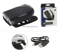 Force přední svítilna RAY 3dio, USB (černá)