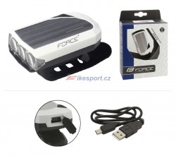 Force přední svítilna RAY 3dio, USB (bílá)