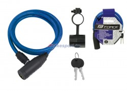 Force zámek - spirálový, modrý, 120cm/8mm + držák