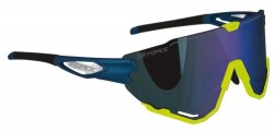 Brýle FORCE CREED modro-fluo, modrá zrc. skla