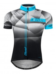FORCE BEST dres krátký rukáv, šedo-modro-černý