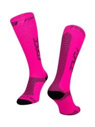 FORCE ATHLETIC PRO KOMPRES ponožky, růžovo-černé vel. S-M