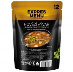 Expres Menu - jídlo na cesty - Hovězí vývar s masem a zeleninou 600g/2porce